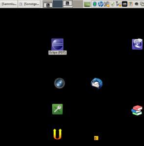 XFCE: Schwarzer Desktop mit sichtbaren Icons und Taskleiste